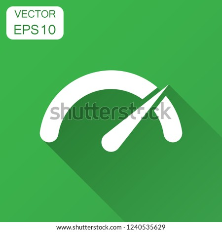 Meter dashboard icon in flat style. Credit score indicator level vector illustration with long shadow. Gauges with measure scale business concept.