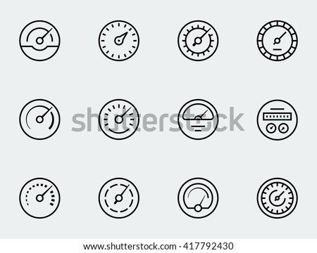 meter icon set in thin line
