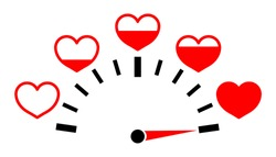Meter of love with hearts. Valentine day. Test with full indicator of level passion. Speedometer with measure feelings and romance. Power of good healthy. Medical score with infographic. Vector.