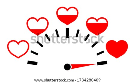 meter of love with hearts