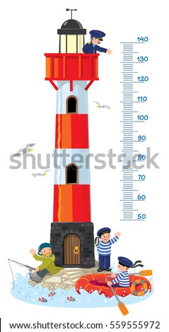 Meter wall or height chart. Lighthouse building, with keeper in uniform on top, fisher man and sailor on the ground, waving to another sailor in the boat. Childrens vector illustration