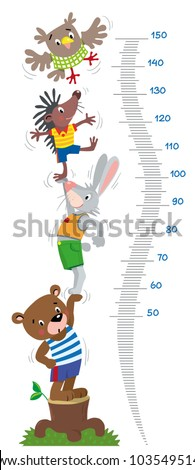 Meter wall or height chart with funny animals