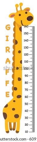 Meter wall with giraffe.vector illustration.