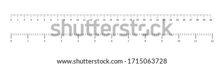 Metric inch rulers. Vector isolated measure elements.  Metric measurement. Measure instrument. Education vector illustration. Ruler scale measure. EPS 10