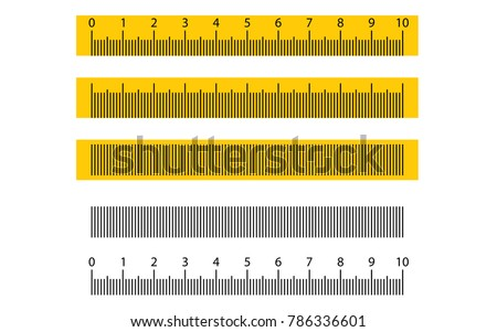 Metric ruler vector set with black and yellow color