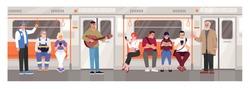 Metro crowd semi flat vector illustration. People in public transport. Everyday rapid transit with underground train. Guitarist in public area. Subway tram 2D cartoon characters for commercial use