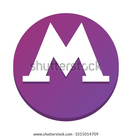 Metro icon. Black illustration isolated on white background for graphic and web design. Vector. White icon with flat shadow on purpureus circle at white background. Isolated.