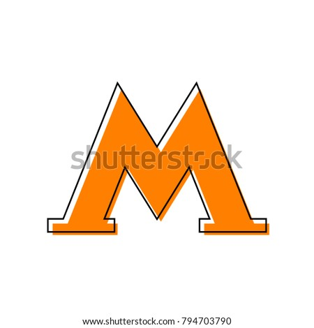 Metro icon. Black illustration isolated on white background for graphic and web design. Vector. Black line icon with shifted flat orange filled icon on white background. Isolated.