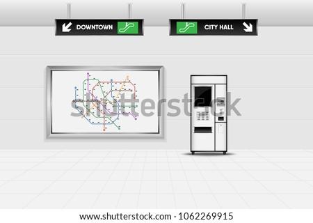 Metro interior design and ticket vending machine., Tube, Underground, Subway