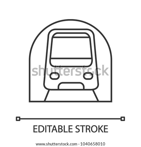 Metro linear icon. Subway, underground. Thin line illustration. Rapid transit. Contour symbol. Vector isolated outline drawing. Editable stroke