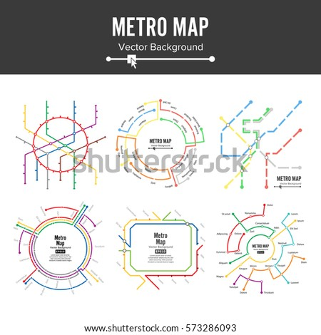 Metro Map Vector Set. City Transportation Scheme Concept. Colorful Background With Stations
