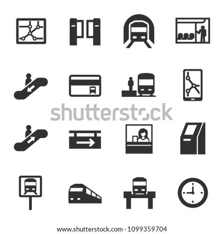 metro, monochrome icons set. subway rapid transit system, simple symbols collection