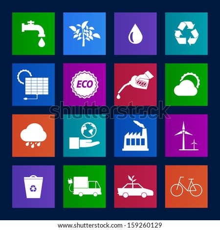 Metro style collection of Eco icons set.Vector EPS10