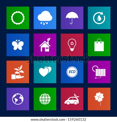 Metro style collection of Eco icons.Vector EPS10