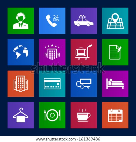 Metro style Hotel and Hotel Services Icons