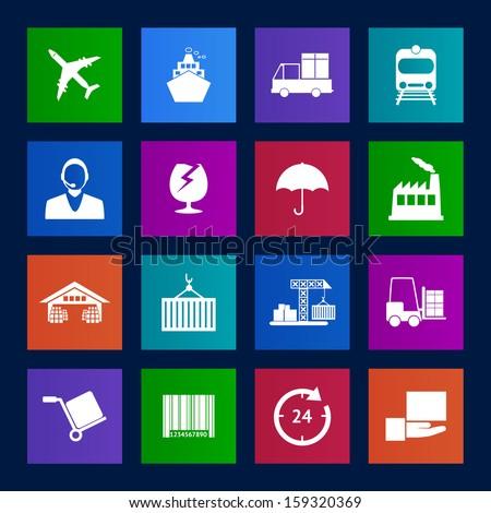 Metro style Logistics icons vector EPS10