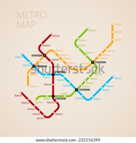 metro (subway) map design template. transportation concept