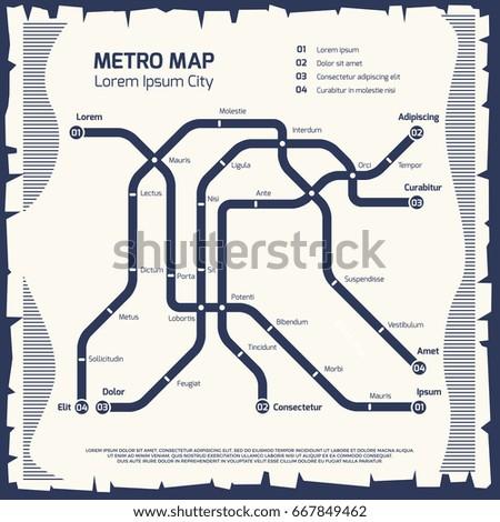 Metro subway map - subway poster design. Poster underground map transport. Vector illustration