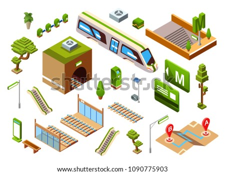 Metro train station set, vector illustration isometric underground or subway railway transport elements. Isolated icons passenger platform, escalators stairs or direction signs and location map plan