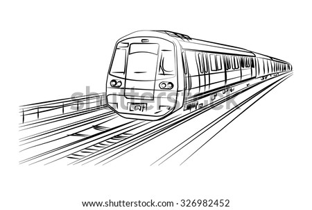 metro train vector sketch in