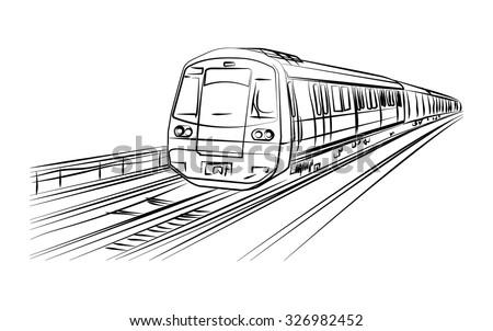 Metro train vector sketch in black lines