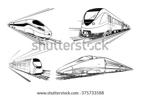 Metro train vector sketches in black lines