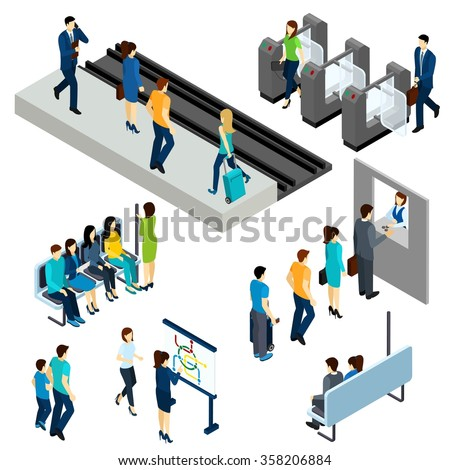 Metro underground station isometric icons composition poster with  passengers entering platform through the ticket barrier abstract vector illustration