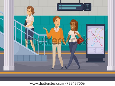 Metro underground station with  staircase subway lines map display and passengers on platform cartoon composition vector illustration