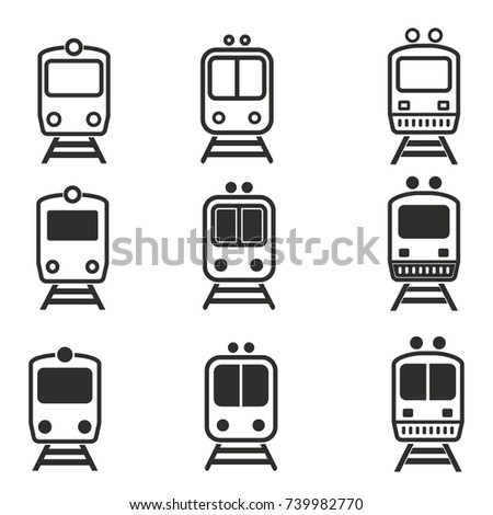 Metro vector icons set. Black illustration isolated for graphic and web design.
