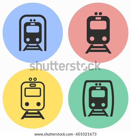 metro vector icons set