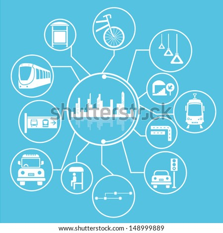 metropolis and public transportation concept mind mapping, info graphic, blue