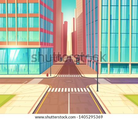Metropolis crossroads, streets crossing in city downtown with two-lane road, traffic lights and sidewalks near skyscrapers buildings cartoon vector illustration. Urban transport infrastructure element Сток-фото ©
