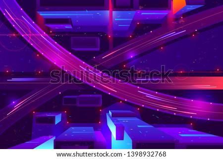 metropolis night freeway neon