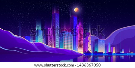 Metropolis on seacoast cartoon vector background with glowing at night, fluorescent neon illumination modern architecture skyscrapers buildings, cottage houses on city beach, embankment illustration