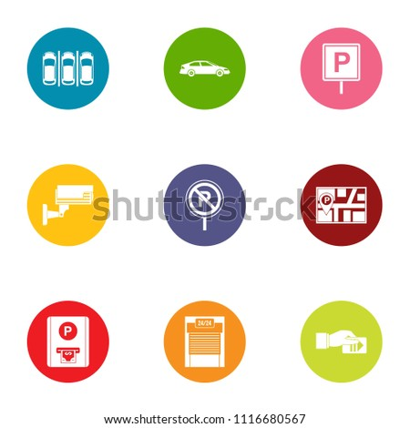 Metropolis parking icons set. Flat set of 9 metropolis parking vector icons for web isolated on white background