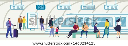 Metropolis Underground Subway or Railway Station Flat Vector Concept with Metropolis Lines Map, Various City Passengers Characters Sitting on Bench at Metro Platform, People Waiting Train Illustration