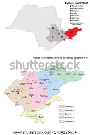 Metropolitan Region of Vale do Paraiba e Litoral Norte administrative vector map
