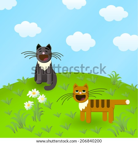 mewing cats on green solar lawn