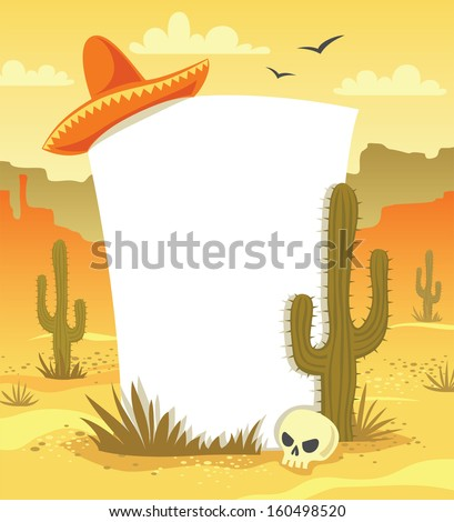 Mexican background with desert  landscape, cacti, hat and skull in vector