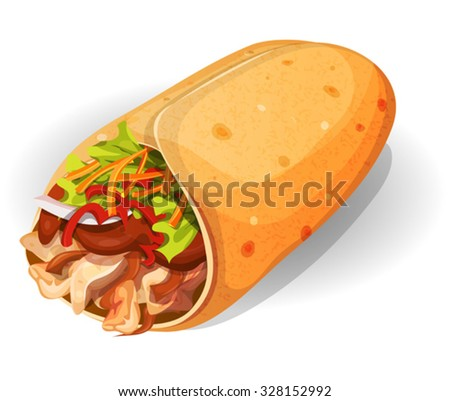 Mexican Burrito Icon. Illustration of an appetizing cartoon fast food Mexican burrito icon, with corn wrap, salad leaves, tomatoes, cheese and chicken meat with chili beans, for takeout restaurant