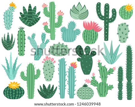 Mexican cactus and aloe. Desert spiny plant, mexico cacti flower and tropical home plants or arizona summer climate garden cactuses and succulent. Flora isolated vector icons collection Сток-фото ©