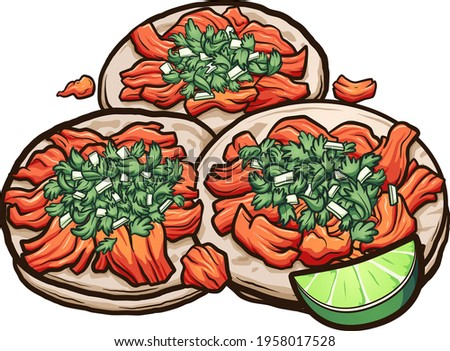 Mexican cartoon tacos al pastor with onions and cilantro. Vector clip art illustration with simple gradients. All on a single layer.  Stok fotoğraf ©