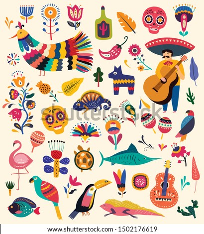 Mexican collection with symbols of Mexico. Mexican decorative vector pattern. Traditional Mexican symbols and decorative elements. Stylish artistic Mexican pattern for decoration of party and holidays
