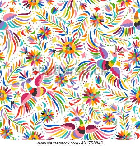 Mexican colorful and ornate ethnic seamless pattern. Birds and flowers on the light background