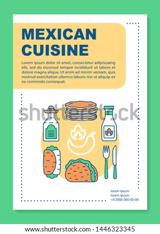 Mexican cuisine brochure template layout. Mexico cantina. Flyer, booklet, leaflet print design with linear illustrations. Vector page layouts for magazines, annual reports, advertising posters