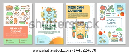 Mexican cuisine brochure template layout. Mexico food restaurant. Flyer, booklet, leaflet print design with linear illustrations. Vector page layouts for magazines, annual reports, advertising posters