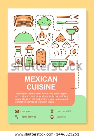 Mexican cuisine brochure template layout. Mexico restaurant. Flyer, booklet, leaflet print design with linear illustrations. Vector page layouts for magazines, annual reports, advertising posters