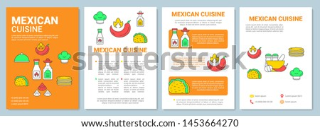 Mexican cuisine brochure template layout. Mexico traditional food flyer, booklet, leaflet print design with linear illustrations. Vector page layouts for magazines, annual reports, advertising posters