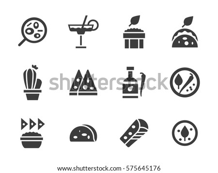 Mexican cuisine menu for restaurant. Set of black glyph vector icons