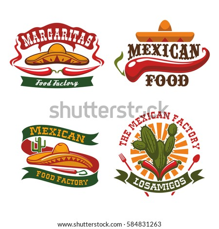 Shutterstock Mexican cuisine vector icons of sombrero hat, chili pepper jalapeno and agave cactus symbols for Mexico fast food snacks of burrito, tacos or tortillas, nachos and tequila bar or restaurant snacks